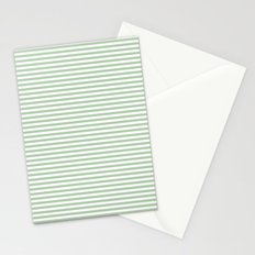 Green White Stripes Stationery Cards