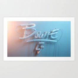 bowie neon blue Art Print