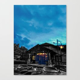 Rest Stop Lodge at Night Photograph Color/Black & White Mashup Canvas Print