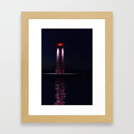 Kenosha North Pier Light Lighthouse at Night Framed Art Print