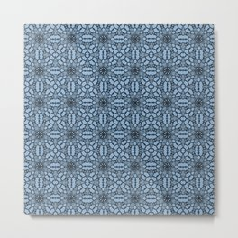Airy Blue Black Lace Metal Print