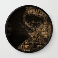 scarface Wall Clocks featuring Scarface by Diego Tirigall