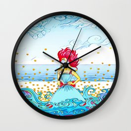 Girl at the beach Wall Clock