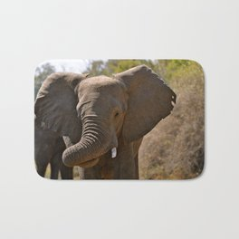 Elephant with a Curled Trunk Bath Mat
