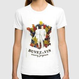 """Poster vintage french """"Buvez du vin et vivez joyeux"""" (drink wine and live happy) T-shirt"""