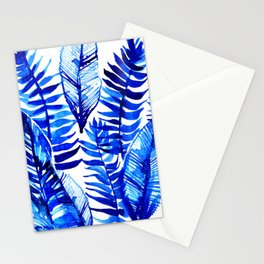 Jungle Leaves & Ferns in Blue Stationery Cards