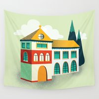 house Wall Tapestries featuring House by Mila Spasova