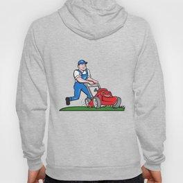 Gardener Mowing Lawn Mower Cartoon Hoody