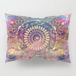 Gold watercolor and nebula mandala Pillow Sham