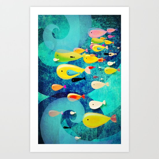 Underwater Swirls Surfing the waves Art Print