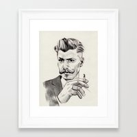 moustache Framed Art Prints featuring Moustache by hectordanielvargas