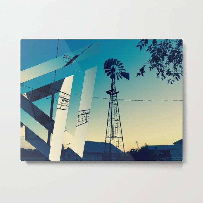 Sunset Farm Metal Print