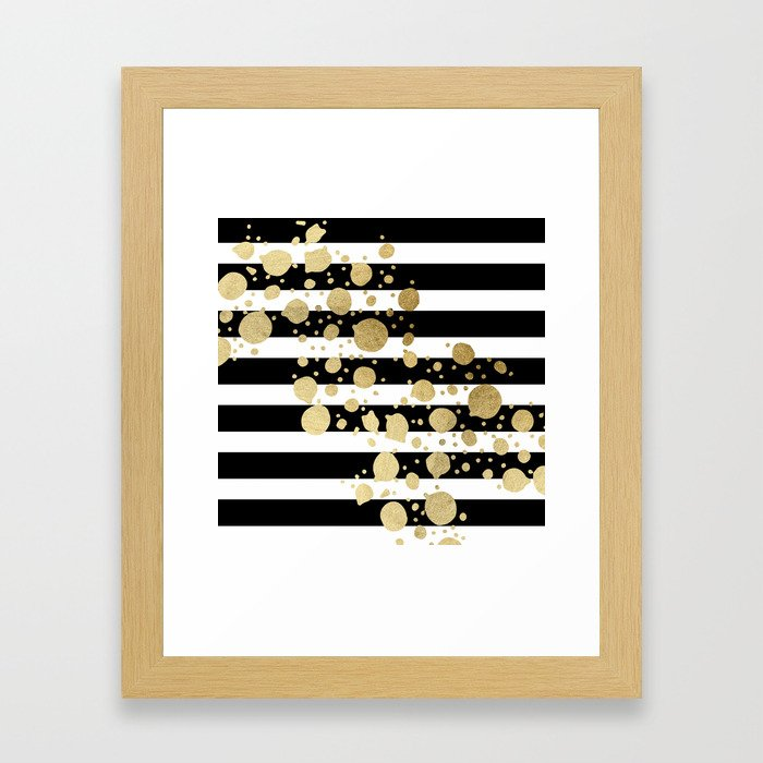 Faux Gold Paint Splatter on Black & White Stripes Framed Art Print