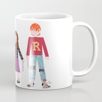 hermione Mugs featuring Harry, Hermione, and Ron by Janna Morton