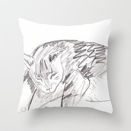 Portrait of Greybo Sleeping Throw Pillow