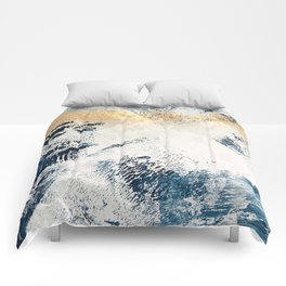Sunset [1]: a bright, colorful abstract piece in blue, gold, and white by Alyssa Hamilton Art Comforters