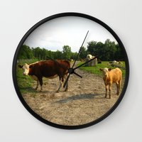 cows Wall Clocks featuring Cows by Emily Elizabeth Reichmann