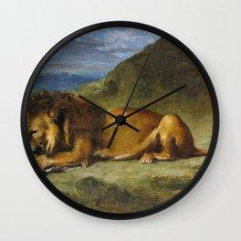 Lion Devouring a Goat - Eugene Delacroix Wall Clock
