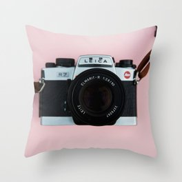 Camera on Blush Pink Background Throw Pillow