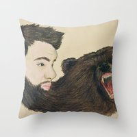 beard Throw Pillows featuring BEARd by Casie Tanksley
