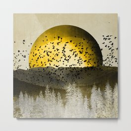 Gold Mountain Moonrise Metal Print