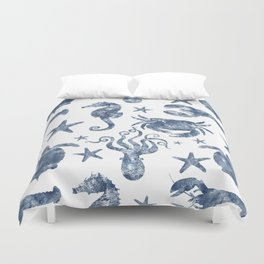Delft Blue nautical Marine Life pattern, coastal beach Duvet Cover