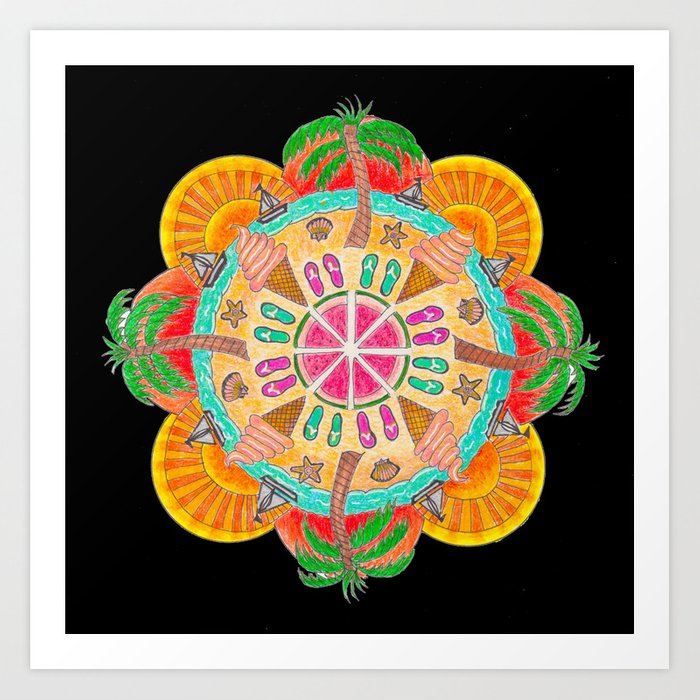 Summer Mandala on black Art Print