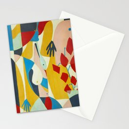 Mujer, flores y ventana Stationery Cards