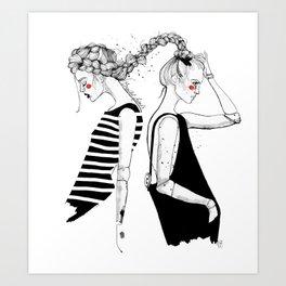 braided friends Art Print