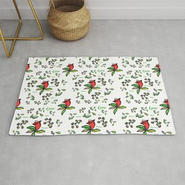 Enlarge Red Flower with Words Rug
