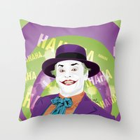 1989 Throw Pillows featuring The Joker 1989 by Nile