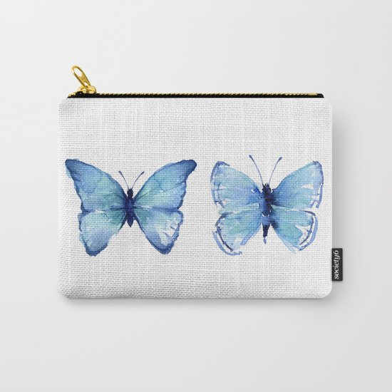 Two Blue Butterflies Watercolor Animals Insects Carry-All Pouch