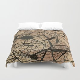 Pollock Inspired Abstract Black On Beige Duvet Cover