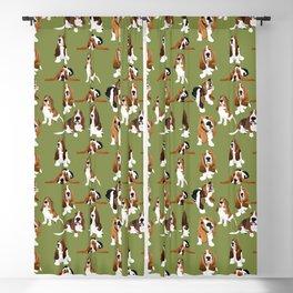 Basset Hounds on Green Blackout Curtain
