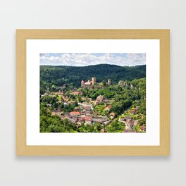 Hardegg town with ancient castle. Framed Art Print