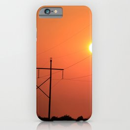 Power Line Silhouettes with a Blazing Orange Sky in Kansas iPhone Case