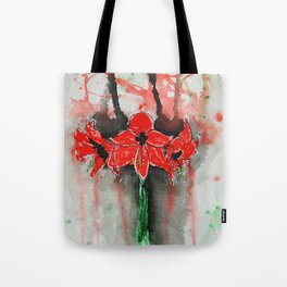 Amaryllis in Line + Wash / Watercolor Painting Tote Bag