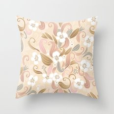 Floral curve pattern, rose gold Throw Pillow