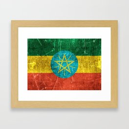 Vintage Aged and Scratched Ethiopian Flag Framed Art Print