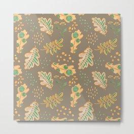 Yellow Oak Leaves Autumn Pattern, Crayon Drawing Metal Print