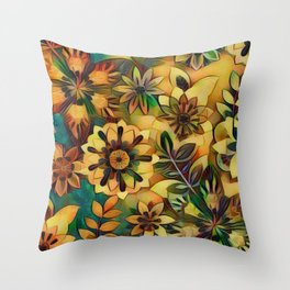 A Floral Dance Throw Pillow
