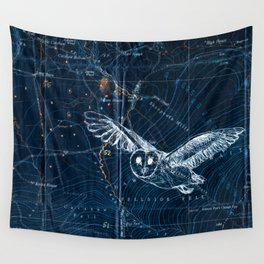 Owl at night, Blue Wall Tapestry