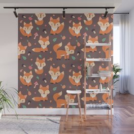 Cute Orange Fox Animal Pattern Wall Mural