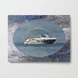 Nautical Boat Wheel Lake Waves Metal Print