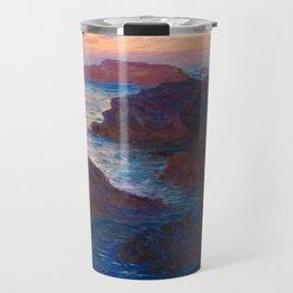 Claude Monet Impressionist Landscape Oil Painting Sunset At Sea Cliffs Ocean Cliff Landscape Travel Mug