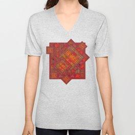 Rose vintage textile patches 02 Unisex V-Neck
