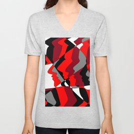 Profiles in Red, Maroon, Black, Gray and White Unisex V-Neck
