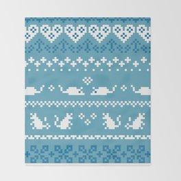 Pixel Rats Blue Throw Blanket