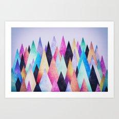 Colorful Abstract Geometric Triangle Peak Wood's  Art Print