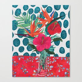 Tropical Bouquet in Living Coral and Emerald Green Canvas Print